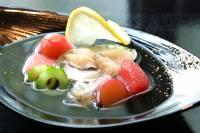 水貝 生姜風味のスパークリング、蝦夷鮑、帆立貝柱、肝酢