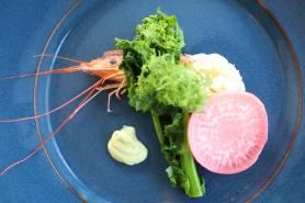 赤海老のマリネ~カリフラワー、赤大根、菜の花~