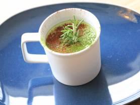 デザート:植木鉢に見立てた嬉野抹茶のムース