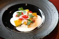 前菜:揚げ秋野菜のヨーグルトサラダ