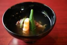 水無月蓮餅  海老 順菜 オクラ  松葉柚子 山葵