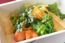 ミル貝と筍の春野菜サラダ 菜の花 リーフ イタリアンパセリ