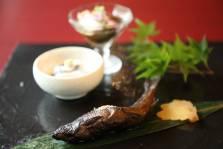 鮎の赤ワイン煮    蛸水雲 胡麻豆富雲流    新生姜の蜜煮