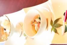 前菜:秋刀魚の柚庵葱焼き 海老芝煮 銀杏 占地茸 あおり烏賊有馬煮~梨のみぞれで~